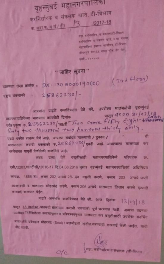 बीएमसी ने ठोंका शाहिद बलवा की प्रॉपर्टी सिटी सेंटर पर 25862230 रुपए का टैक्स , 48 घंटों में सील करने की दी चेतावनी